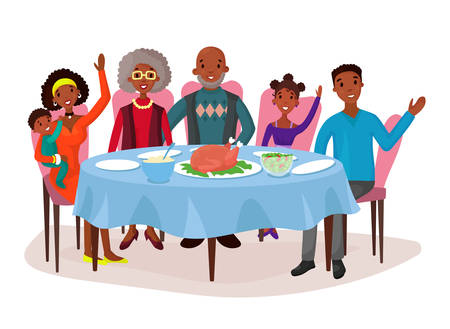 american table: Happy afro american family at dinner table