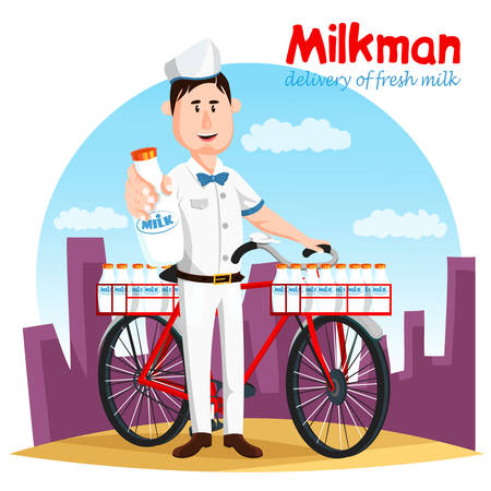 milkman: Milkman and his bicycle transport for milk bottle Illustration