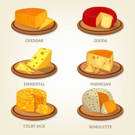 gouda: Sliced french and swiss cheese food icons Illustration