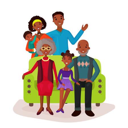 relatives: Relatives and happy family on sofa symbol