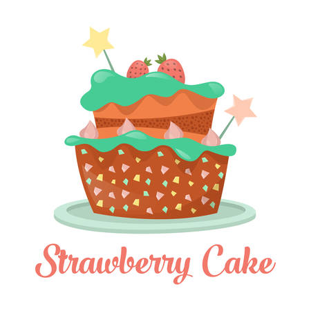 strawberry cake: Baked strawberry cake, dessert food
