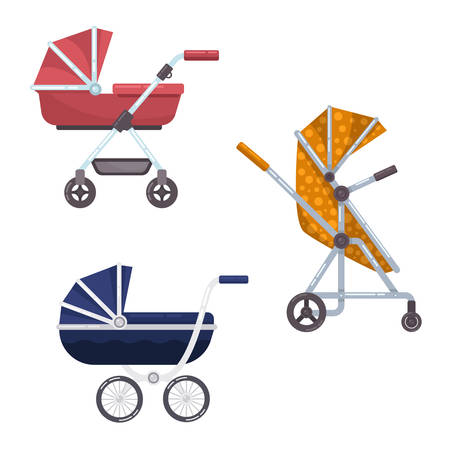 waggon: Baby carriage or infant, child wagon design Illustration