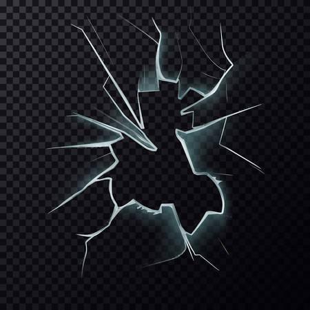 Fissures sur la fenêtre brisée avec des fissures Vecteurs