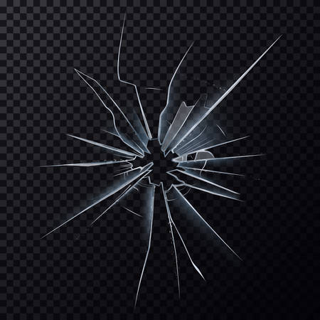 Crushed mirror or broken surface of glass Illustration