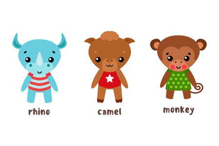 Rhino and camel, monkey or ape cartoon characters Illustration