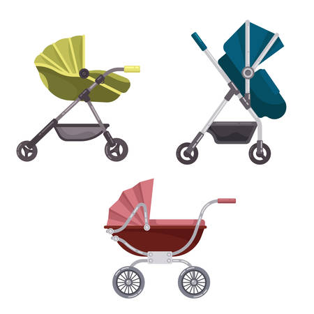 folding: Baby carriage or buggy, folding stroller icons Illustration