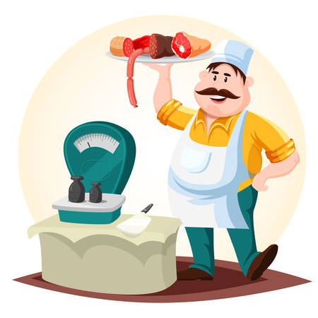 Butcher or meat store worker with sausages Illustration