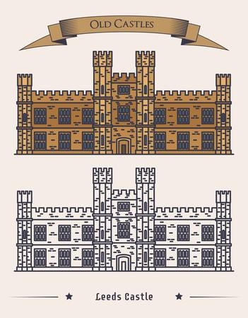 baroque gate: English Leeds castle, palace facade exterior view