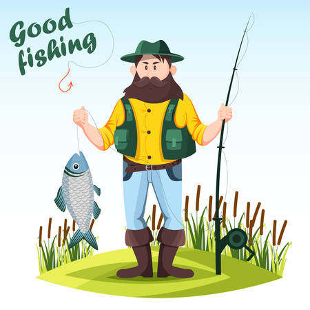 Fisherman with rod or spinning and catched fish Illustration