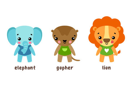 gopher: Lion and animal, gopher cartoon characters