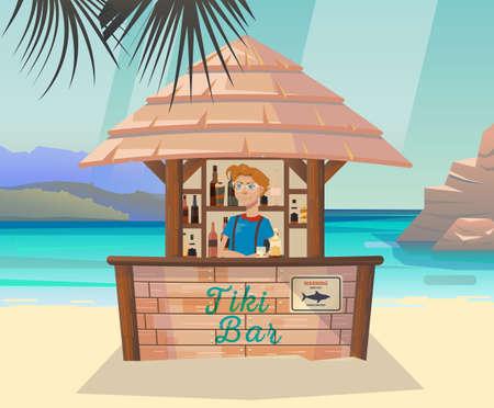 sea shore: Tiki bar with bartender at sea or ocean shore