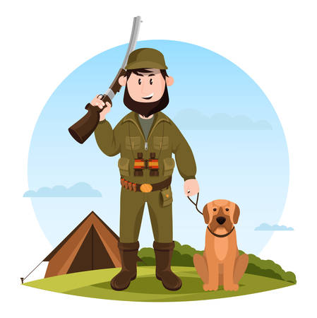 Cartoon hunter with rifle and hunting dog Illustration