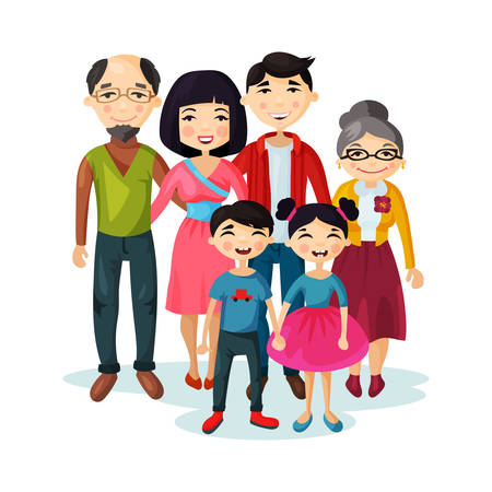 happy kids: Adult family with happy kids or children Illustration