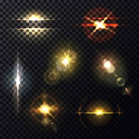 Light effect through lens, sunlight bleak background Stock Illustratie