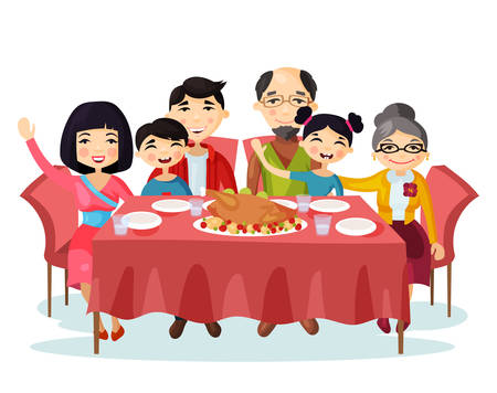family picture: Holiday dinner with turkey of cartoon family
