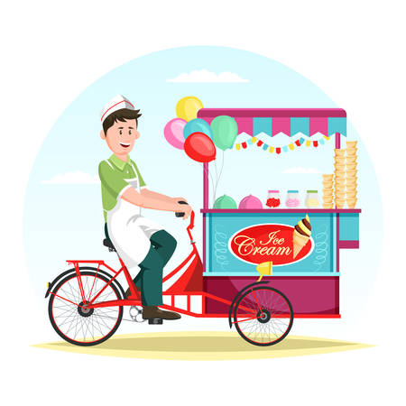 Ice cream wagon or trolley with vendor man