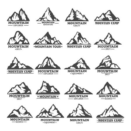 Isolated set of winter mountains silhouettes Illustration