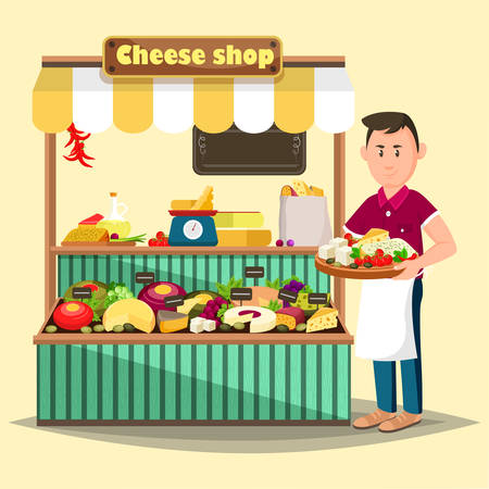 vendor: Showcase with man selling cheese products