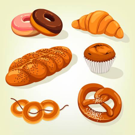 Multigrain bread and bakery cake, croissant