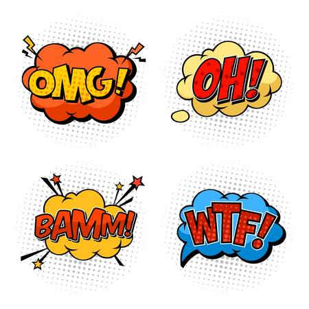 comix: Onomatopoeia sounds omg and wtf, oh and bam