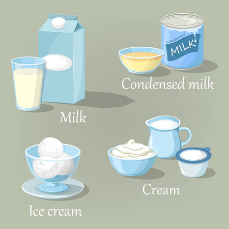dairy products: Ice cream and cream, condensed milk or kefir
