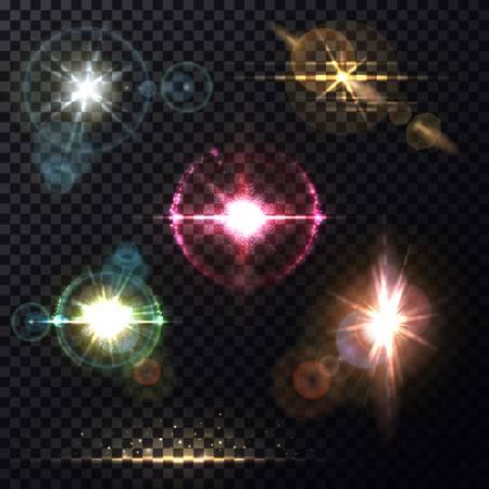 Light effects of sunlight through lens background Illustration