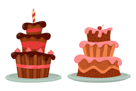 Chocolate cake with cherry and candle on top Illustration