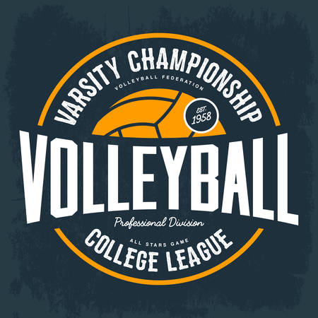 College tournament emblem for volleyball sport Ilustrace