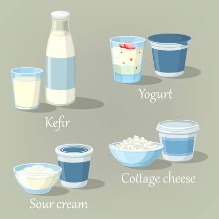 sour cream: Yogurt and kefir, cottage cheese with sour cream Illustration
