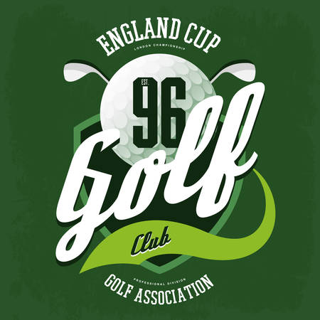 t shirt print: Golf ball and clubs logo for t-shirt or sport cloth Illustration
