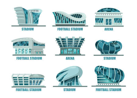 athletes: Set of soccer or football modern stadium building