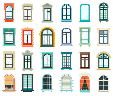 wooden window: Set of plastic and wooden window frames Stock Photo