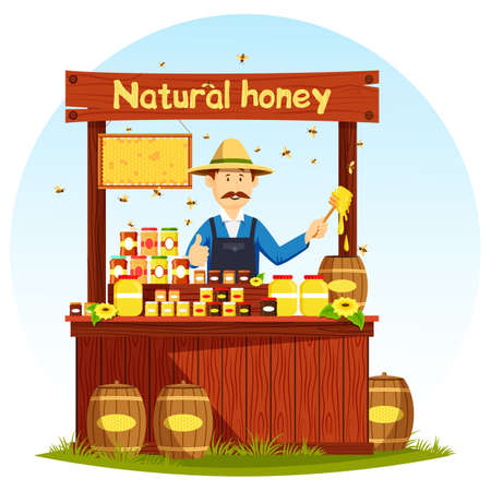 Agronom Selling Honey At Market Stall Or Showcase