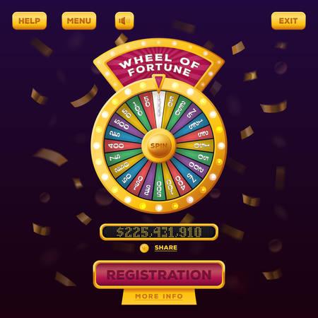 Casino-Menü Web-Design mit Rad des Glücks Vektorgrafik