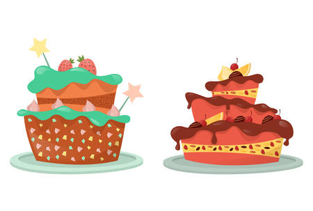 Cream and berry, stars on top of wedding cake Illustration