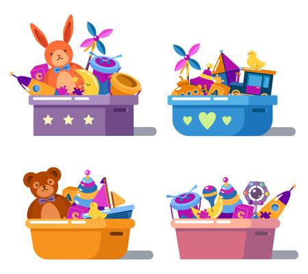 Pila de infancia jugando juguetes en cajas