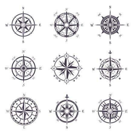 Windrose oder alt, Vintage Kompass heraldische Ikonen Standard-Bild - 70956035