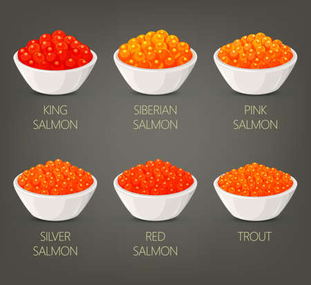 Roe or spawn, red or silver, salmon caviar Stock Photo