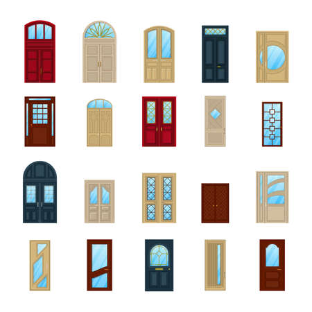 arch: Wood or wooden facade exterior doors icons Stock Photo