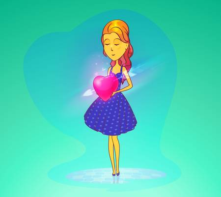 Woman or girl, young lady in skirt or dress holding heart with cupidon arrow. Cartoon female in love or valentine day, romance anniversary. Amorousness and beguin, flirt and passion,happy people theme