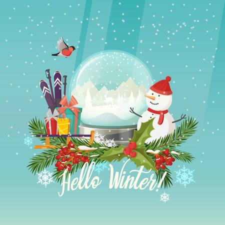 snowdome: Snowman and snow globe, gifts on sleigh, ski poles Illustration