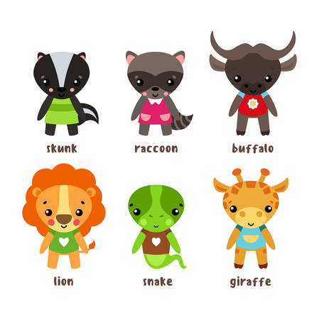 zoology: Smiling giraffe and kid skunk, child of common raccoon or northern american coon or racoon, lion with happy face and buffalo or bison in clothing, snake lizard cartoon character. Humor and zoology Illustration
