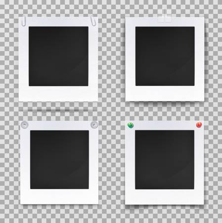 square image: Set of isolated vintage photography empty frames or blank photo or image backdrop. Retro camera picture for wall decoration, old square shaped framework for portrait. Gallery object theme