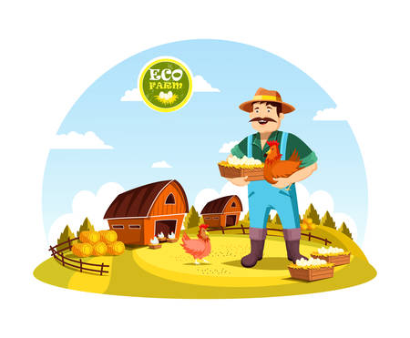 worker person: Eco farm with farmer holding eggs and hen near field with barns and hay. Cartoon man or person with organic or natural food near fence or spade, agrarian worker profession. Village, countryside theme