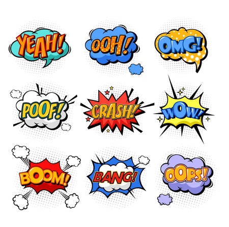 ooops: Onomatopoeia or comic bubble speech for cartoon replica like yeah and oh, ooh and splash, omg and oops, poof and boom, bang explosion signs, dialog exclamation. Cloud with text and communication