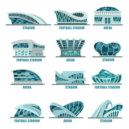 championships: Variety of soccer or football stadiums. Set of isolated sport arena buildings for championship or competition. Glassware modern structures logo or banner, icons or signs. Game match event outdoor view