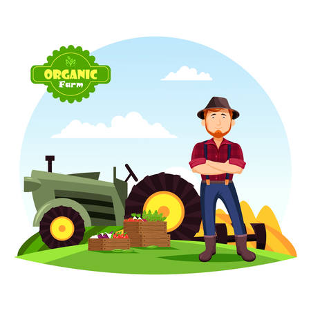 Farmer man in hat with beard near boxes with vegetable harvest like eggplant and tomato, beets. Man near tractor or agrimotor at his organic or farm producing eco food. Healthy nutrition, agriculture
