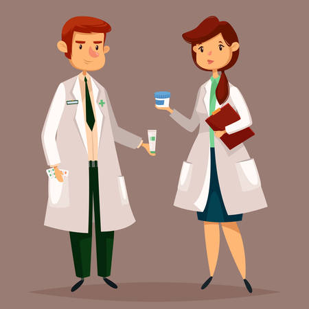 Man pharmacist in uniform and woman medical holding pills or drugs. Druggist or pharmaceutical store cartoon sign. Healthcare seller or doctor, female and male professional worker at drugstore