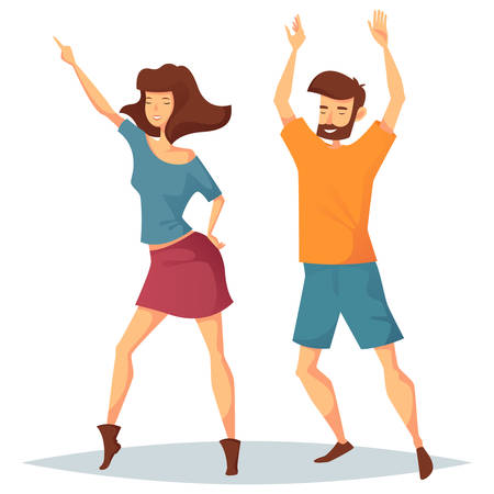 woman male: Man dancing with woman at disco. Girl in skirt and male in t-shirt and shorts doing dance moves at discotheque. Nightlife and social event at club, sport dancing and 1980s performance, party theme Illustration