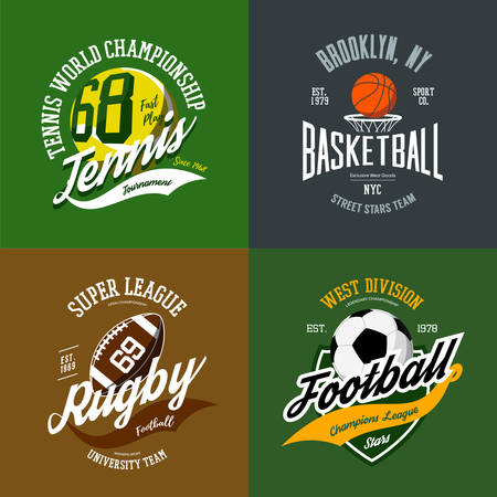 Set of basketball and tennis, football or soccer, rugby isolated icons. Sport logo with balls and basket, sportswear or t-shirt print design for college or university team. Cloth branding theme